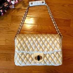 Handbags - Cream Quilted  Shoulder Bag
